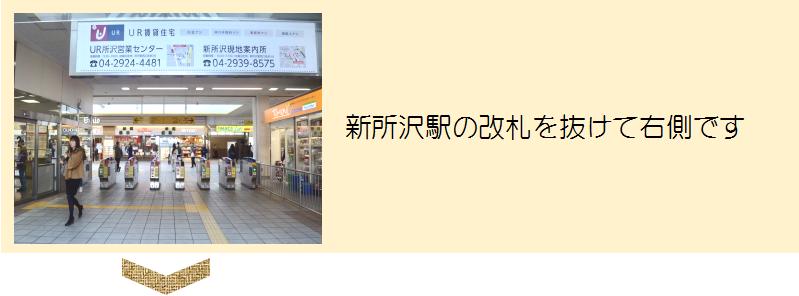 新所沢駅の改札を抜けて右側