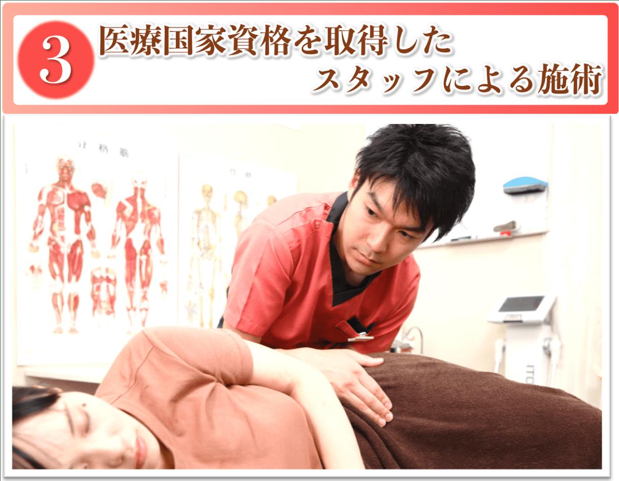 医療国家資格を取得したスタッフによる施術